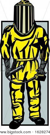 person in biohazard or hazmat suit