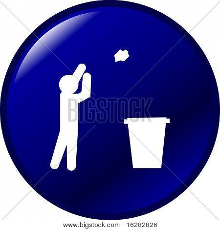 throwing trash button