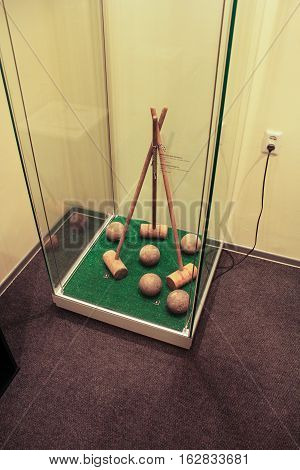 Gatchina, Russia - 3 December, Exposure hammers and balls for croquet, 3 December, 2016. Visit the Museum Reserve Gatchina Palace.