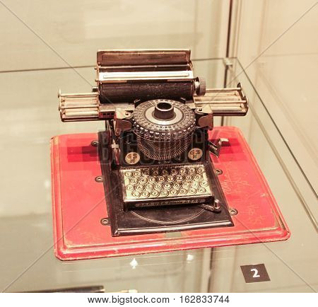 Gatchina, Russia - 3 December, Exposition of old typewriter, 3 December, 2016. Visit the Museum Reserve Gatchina Palace.
