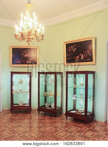 Gatchina, Russia - 3 December, Oval room of the Gatchina Palace, 3 December, 2016. Visit the Museum Reserve Gatchina Palace.