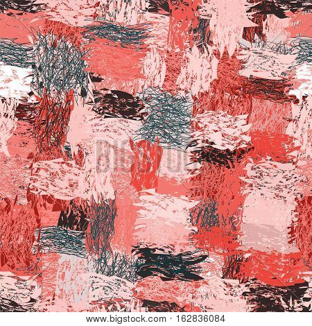 Seamless pattern with cartoon grunge striped wavy intersecting elements in pinkblack white colors