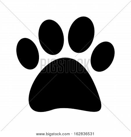 Stock Vector Black paw print tetradigitate on a white background.
