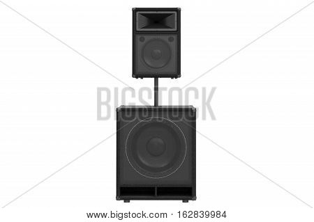 Speaker audio system heavy metal, front view. 3D rendering
