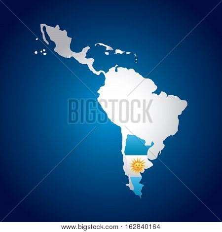 latin america map with the argentina flag  over blue background. vector illustration