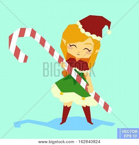 Cute Cartoon Elf Girl Character - Holding Candy Cane. Santa Claus Helper Preparing For Christmas. Me
