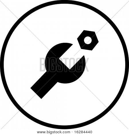 wrench and nut symbol