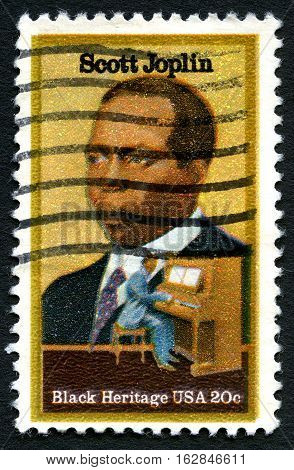 UNITED STATES OF AMERICA - CIRCA 1983: A used postage stamp from the USA depicting an illustration of famous composer and pianist Scott Joplin circa 1983.