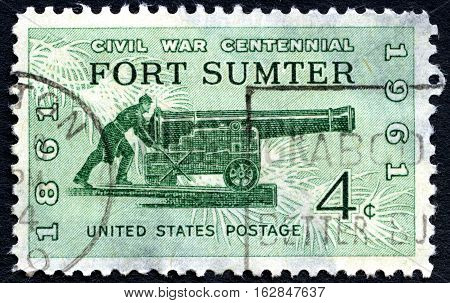 UNITED STATES OF AMERICA - CIRCA 1961: A used postage stamp from the USA depicting commemorating the first battle of the American Civil War at Fort Sumter circa 1961.