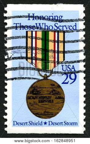 UNITED STATES OF AMERICA - CIRCA 1991: A used postage stamp from the USA commemorating Those Who Served in Operation Desert Storm circa 1991.