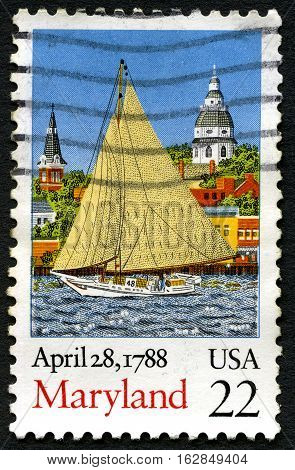 UNITED STATES OF AMERICA - CIRCA 1993: A used postage stamp from the USA commemorating the date that Maryland was the seventh state to ratify the United States Constitution circa 1993.
