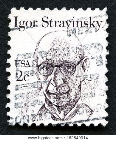 UNITED STATES OF AMERICA - CIRCA 1980: A used postage stamp from the USA featuring a portrait of fmous Composer Igor Stravinsky circa 1980.