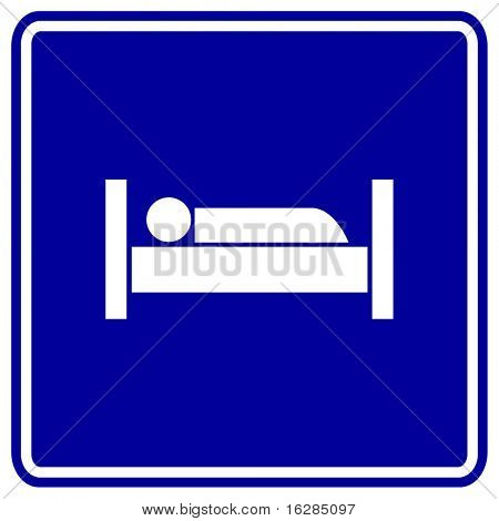 sleeping in bed sign