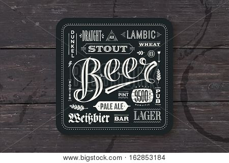 Coaster for beer with hand drawn lettering. Monochrome vintage drawing for bar, pub and beer themes. Black square for placing a beer mug or a beer bottle over it with lettering for beer theme. Vector Illustration