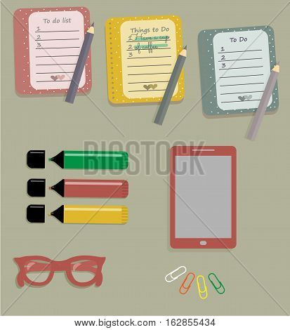 Stationery: The sheets of the planner in a cute polka dots. To Do Lists with little hearts. Stiсkers. Markers. Dark red glasses. Pencils. Clips. Mobile phone. Smartphone. Vector illustration.
