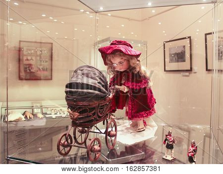 Gatchina, Russia - 3 December, Exposition of old doll with a stroller, 3 December, 2016. Visit the Museum Reserve Gatchina Palace.