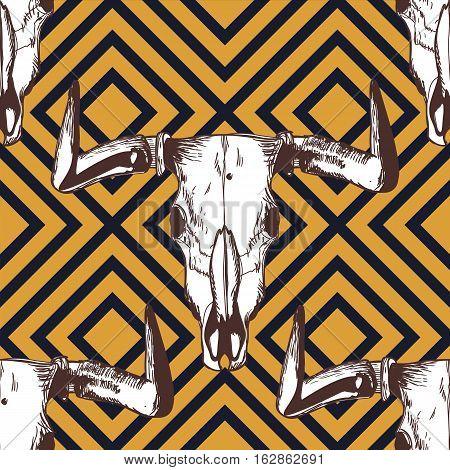 Vector Seamless Striped Pattern With Hand Drawn Buffalo Skulls. Tribal Grunge Ornament.