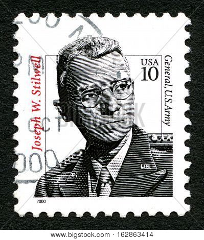 UNITED STATES OF AMERICA - CIRCA 2000: A used postage stamp from the USA depicting a portrait of Four-Star General Joseph Warren Stilwell of the United States Army circa 2000.