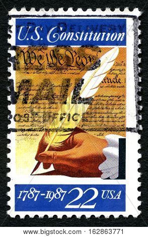 UNITED STATES OF AMERICA - CIRCA 1987: A used postage stamp from the USA commemorating the 200th Anniversary of the signing of the U.S. Constitution circa 1987.