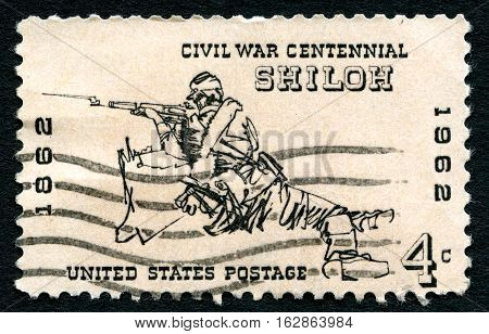UNITED STATES OF AMERICA - CIRCA 1962: A used postage stamp from the USA commemorating the 100th Anniversary of the Battle of Shiloh during the American Civil War circa 1962.
