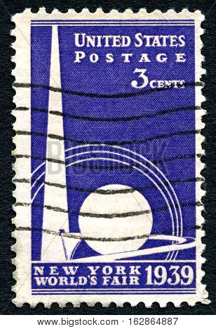 UNITED STATES OF AMERICA - CIRCA 1939: A used postage stamp from the USA commemorating the opening of the New York Worlds Fair circa 1939.