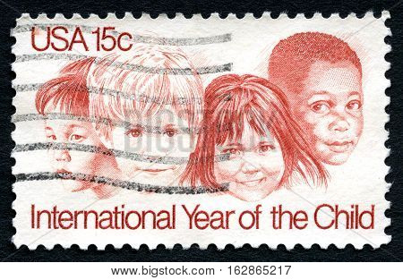 UNITED STATES OF AMERICA - CIRCA 1979: A used postage stamp from the USA commemorating the International Year of the Child circa 1979.