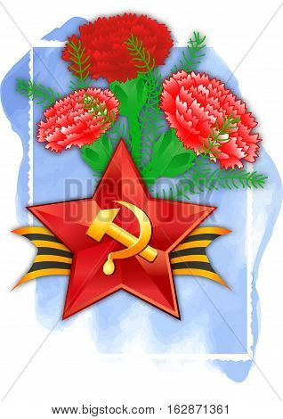 Holiday greeting card with soviet red star and bouquet of carnations on blue watercolor background for Defender of Fatherland day in February 23 or Victory day in May 9. Vector illustration