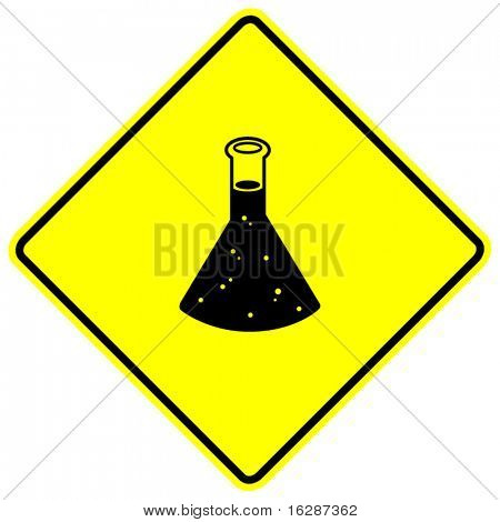 chemical in flask container sign