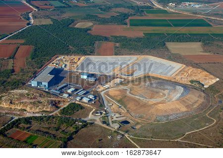 Photo of large quarry from the air
