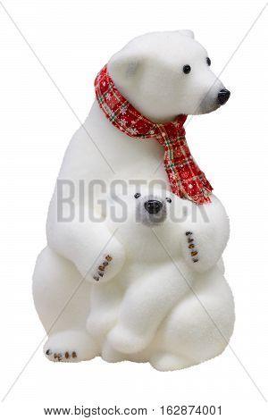Christmas figurine polar bear and teddy-bear. Isolated white background.
