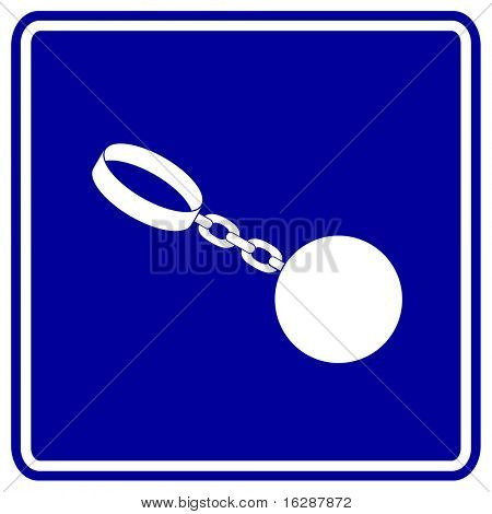 ball and chain shackles sign