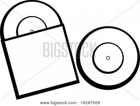 vinyl old lp discs with sleeve package