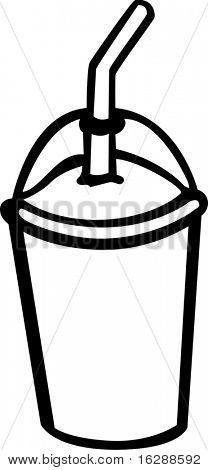 frozen beverage with drinking straw
