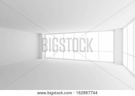 Business architecture white colorless office room interior - two large windows in empty white business office room with white floor ceiling walls and empty space 3d illustration