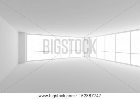 Business architecture white colorless office room interior - empty white business office room with white ceiling floor walls and two large windows and empty space 3d illustration.