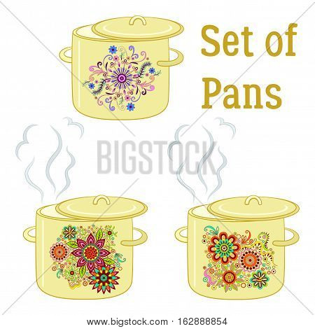 Set of Boiling Pans with Floral Patterns, Cover and Steam, Element for Your Design. Vector