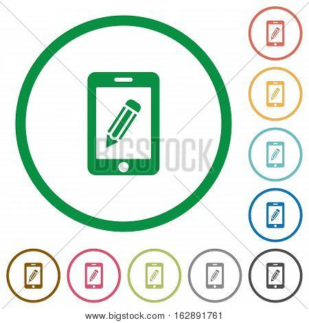 Smartphone memo flat color icons in round outlines on white background
