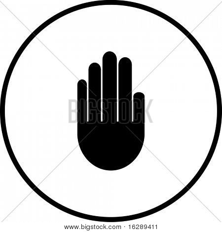 hand making a stop signal symbol
