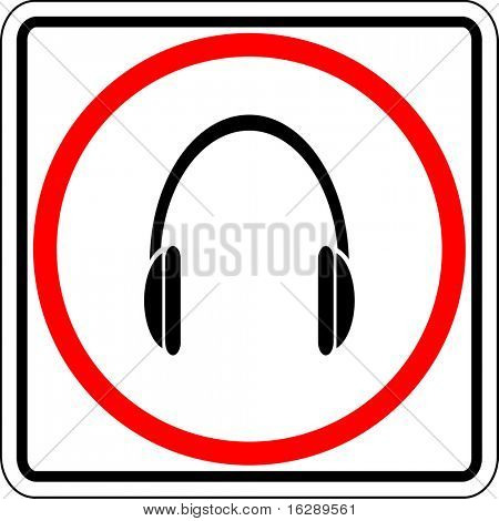 headphones allowed sign