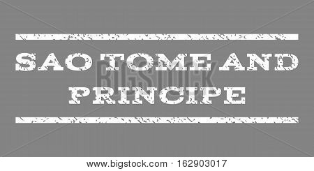 Sao Tome and Principe watermark stamp. Text caption between horizontal parallel lines with grunge design style. Rubber seal stamp with dirty texture.