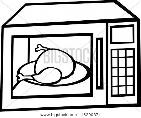 microwave oven with chicken or turkey inside