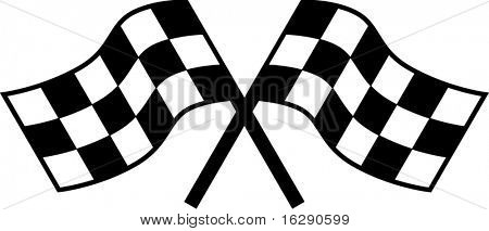 two checkered racing flags