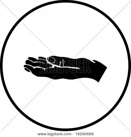 panhandling or begging hand symbol