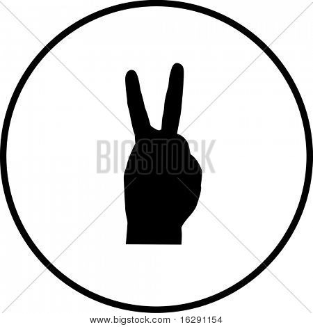 hand number two or making bunny ears shadow or peace symbol
