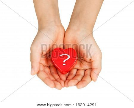 Heart Care, Medical Concept. Heart In The Hands Of A Child. Isolated On White.