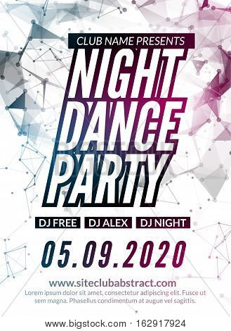 Night Dance Party design template in polygonal style. Club dance party event. DJ music poster promotional.