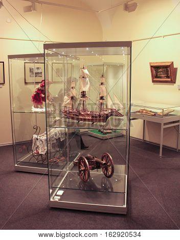 Gatchina, Russia - 3 December, Exposition model sailboat and guns, 3 December, 2016. Visit the Museum Reserve Gatchina Palace.
