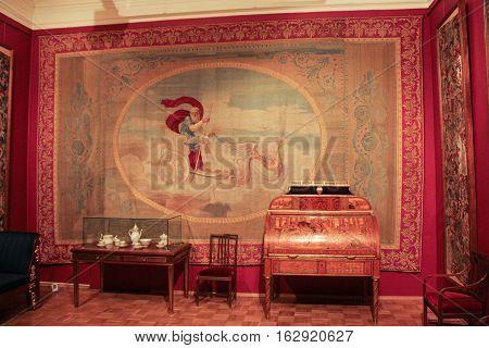 Gatchina, Russia - 3 December, Interior living raspberry Gatchina Palace, 3 December, 2016. Visit the Museum Reserve Gatchina Palace.