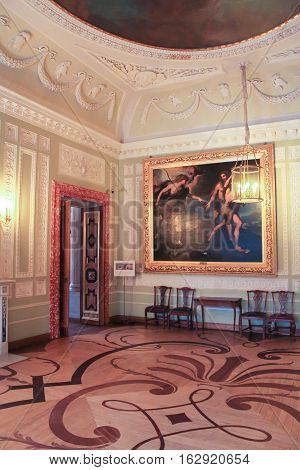 Gatchina, Russia - 3 December, The interior of the hall of the Gatchina Palace, 3 December, 2016. Visit the Museum Reserve Gatchina Palace.