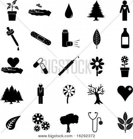 plants and medicine symbol set 2